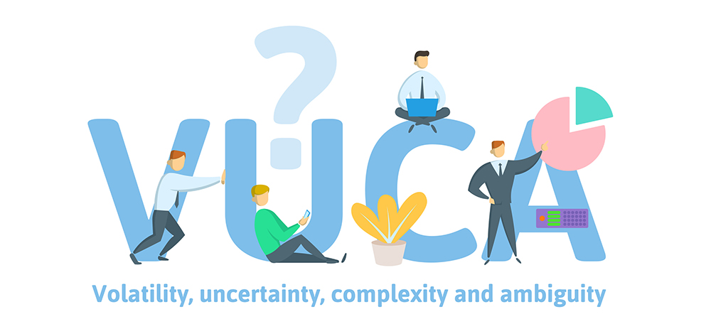 VUCA, volatility, uncertainty, complexity and ambiguity of general conditions and situations. Concept with keywords, letters and icons. Flat vector illustration on white background.